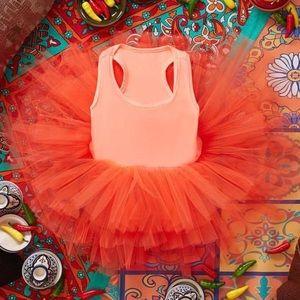 I Love Plum Tutu Dress in Bright Orange